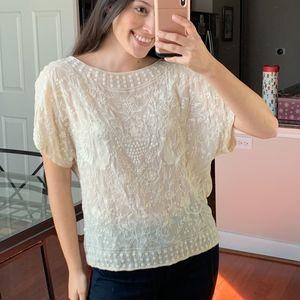 Zara cream embroidered top L